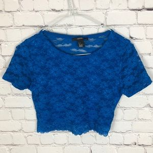 Forever 21 Lace Crop Top Royal Blue Size Small